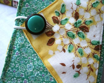 Photo Album Brag Book Vintage Fabric Hankerchief Button Yellow Green Romantic Valentines Day