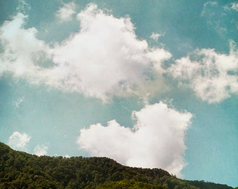 Cloud Photography, Nature Landscape, White Clouds, Heart, Love, Romance, Mountains, Hills, White, Aqua, Teal Sky - Love is in the Air