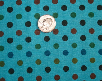 New jewel dots on turquoise polka dots on cotton jersey knit fabric 1 yard