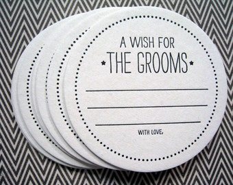 Letterpress Coaster Set - wish for the grooms (set of 30)
