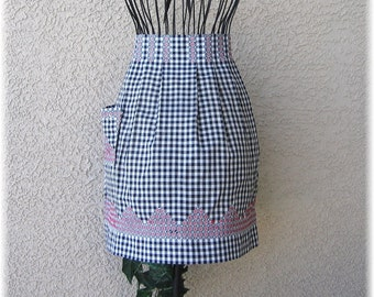 BLACK & WHITE GINGHAM Embroidered with Red and White