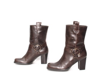 size 8.5 PLATFORM brown leather 80s 90s MOTO HARNESS high heel ankle boots