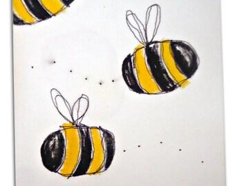 Bumble Bee Art / Children's Bug Canvas / Boys / Girls  Nursery Decor