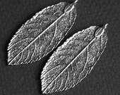 4 pcs of Antique silver leaf pendant 20x50mm