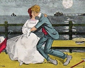 VINTAGE  POSTCARD, Spooning, 1906, collected by junqueTrunque