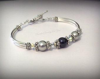 Bridesmaid Set Of SIX: Blue Pearl Bridesmaid Bracelet, Wedding Jewelry, Bridesmaid gift, Wedding Party, Bridesmaid Jewelry, Wedding Jewelry