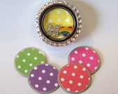 NEW!! Spring Polka Dot Locket Plates, will fit any brand of floating charm locket necklaces, available in medium and large, CHOOSE ONE