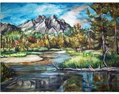 WILD MOUNTAIN DREAMs -11x15 original painting landscape watercolor OOAK,- Mountain, lake, wilderness, trees,country