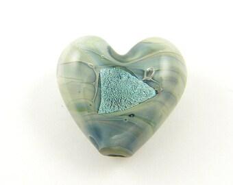 Aqua Heart Beads - Large Glass Heart Puffy Heart Seafoam Borosilicate Glass Foil Focal Bead Large 18mm |OB1-1|1