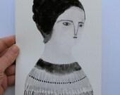 a modest woman - an original gouache portrait on paper - folk art