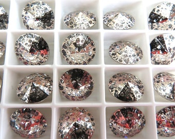 4 Rose Patina Foiled Swarovski  Rivoli Stone 1122 12mm
