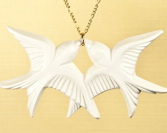 Vintage White Lucite Bird Necklace set on Gold Fill