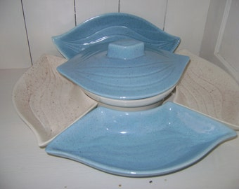 Blue and White Leaf condement tray