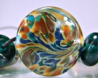 Lampwork Glass Beads Silvered Teal Blue Orange Lampwork Bead Set SRA Glass Beads