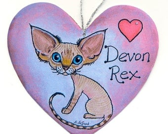 DEVON REX CAT  heart-shaped tabbypoint Si-Rex kitten painting sign by Suzanne Le Good