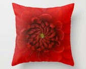 Red Flower Pillow Cover Botany Natural History Decor Red Flower Photograph Flower Decor