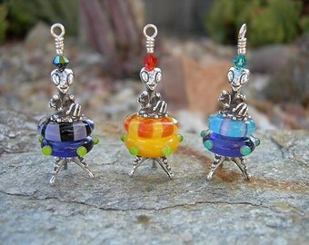 Sterling Silver and Lampwork Glass Mini Martian Alien Bead Critter Pendant
