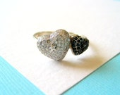 Pave Set Double Heart Sterling Silver Ring