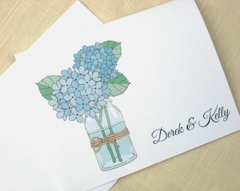 Mason Jar Note Cards with Blue Hydrangeas - Set of 50 - Custom Wedding Thank Yous - Flowers - Mason Jar Wedding Thank Yous