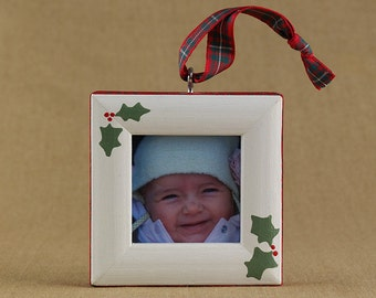holly picture frame ornament