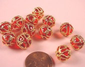 6 Vintage Red Lucite Beads Caged in a Gold Overlay - 11mm