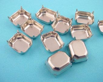 18 Silver tone Octagon Pronged Settings no Loop 10x8 closed back