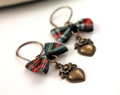 Outlander Heart and plaid bow dangle earrings romantic gothic