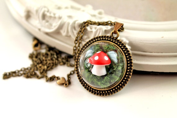 Dainty cute woodland mushroom in moss Necklace larger version