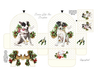 TERRIER Dog GIFT BOX  Christmas Easy quick holly mistletoe xmas box Download Digital Puppy Favor box Vintage Printable Template Vintage