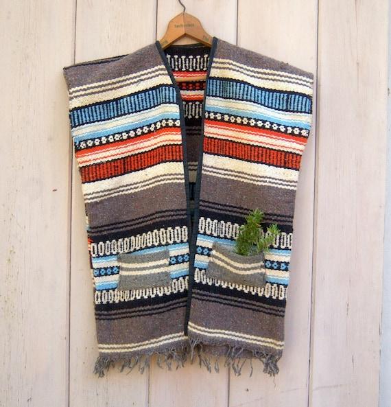 Vintage Mexican Blanket Serape / Hippie Tribal Vest / Ethnic