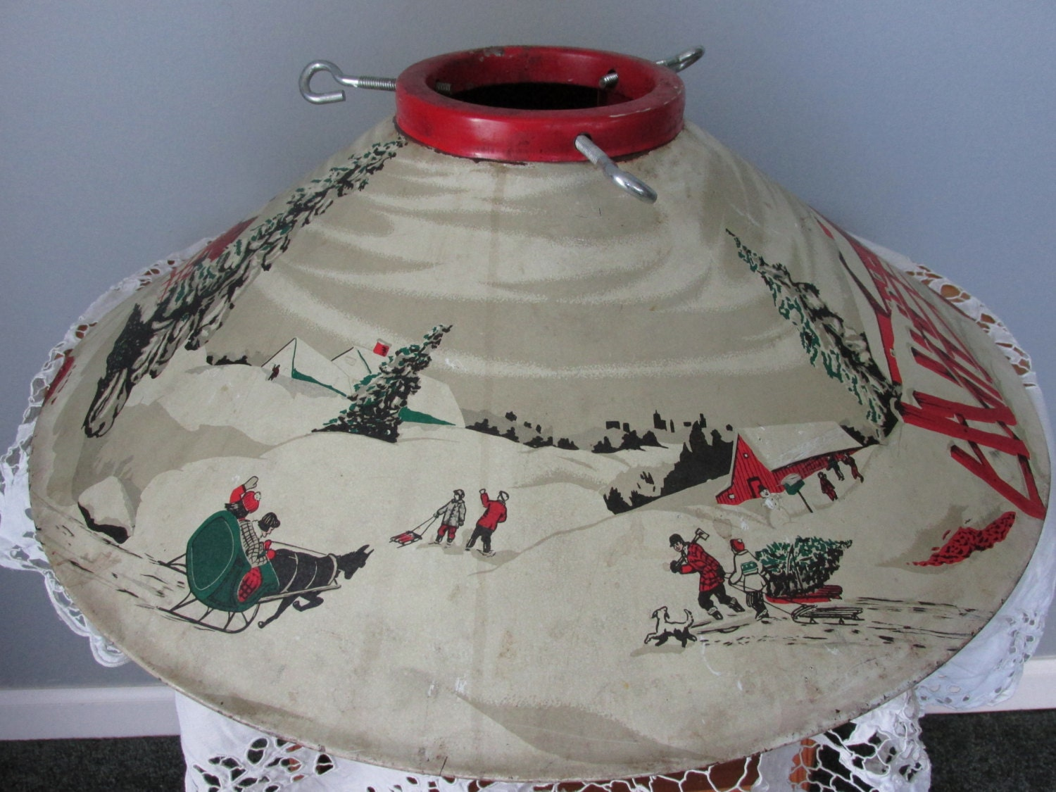 Antique Christmas Tree Stand Decorations : Vintage metal tree stand christmas decor large