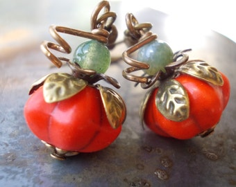 Pumpkin earrings Organic dangle drop earrings chalk turquoise howlite brass berry fruit orange melon rustic persimmon natural moss agate