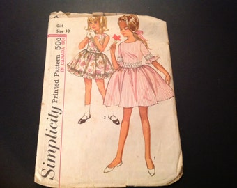 Vintage Simplicity #5944 Pattern for Girls' Size 10 One-Piece Dress