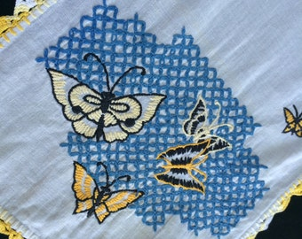 Vintage White Dresser Scarf/Table Runner with Hand Embroidery Yellow and Blue Butterflies and Yellow and White Hand Crochet Trim