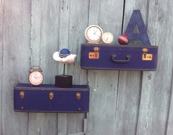 pair of navy blue wall shelf shelves made from vintage 1950s. Black Bedroom Furniture Sets. Home Design Ideas