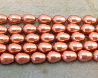 Rose Gold Pearl, Swarovski Elements, 11x8 mm Pear, 6 pieces, RG20