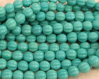 Czech Beads, 8 mm Melon, Turquoise, 25 Pc. C385