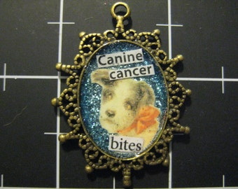 Canine Cancer Bites Pendant, 50% goes to the current selected animal charity
