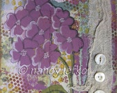 hydrangea - 8 x 10 ORIGINAL COLLAGE by Nancy Lefko