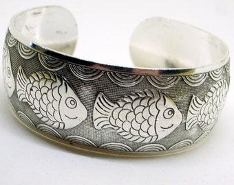 Vintage Bracelet And Earrings Set - Happy Fish - Tibet Silver Cuff Bangle - Dangle Earrings - Adjustable  - Tribal - Pisces Zodiac Sign