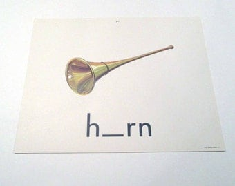 Vintage 1960s Children's Giant Sized School Flash Card with Picture and Word for Horn by Milton Bradley