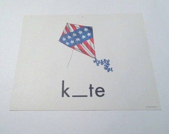 Vintage 1960s Children's Giant Sized School Flash Card with Picture and Word for Kite by Milton Bradley