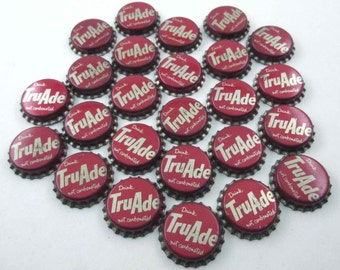 Vintage TruAde Red and Silver Bottle Caps with Cork Lining Set of 25