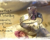 Natural Raw Amethyst and Sterling Ring