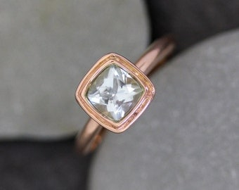 Soft Blue Aquamarine Halo Ring in Recycled 14k Rose Gold