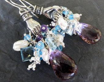 Amethyst chandelier earrings in sterling silver - blue topaz, seed pearls, amethyst - hand charm - long dangle earrings - cluster earrings