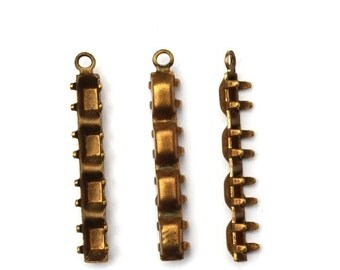 Rhinestone Prong Settings Brass 5x3 Baguette Multiple Stone (10) FI764