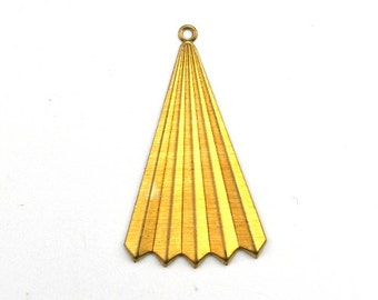 Fan Triangle Charm or Pendant Raw Brass (4) CP243