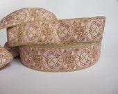 2 yards MARIE ANTOINETTE Jacquard trim in cream, lavender , beige on rose. 1 1/2 inch wide. 319-G~ 2