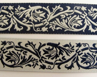 "1 yard 27"" REVERSIBLE CLASSIC SCROLLS Jacquard trim in ivory and blue. 7/8 inch wide. 984-d"